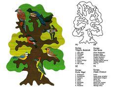 Arbre aux oiseaux - Europe - Montessori - Waldorf puzzle en bois, fabriqué à la main de bois d'érable, pas de couleurs nocives et aucune laq...