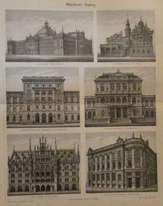 1896 MÜNCHEN MÜNCHENER BAUTEN Original Druck Antique Print Architektur
