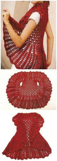Crochet Clothes Crochet Red Circle Vest - 12 Free Crochet Patterns for Circular Vest Jacket Crochet Circle Vest, Cardigan Au Crochet, Crochet Circles, Crochet Scarves, Crochet Shawl, Crochet Clothes, Crochet Stitches, Knit Crochet, Crochet Vests