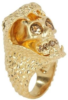ShopStyle: Gold Snake And Skull Cocktail Ring