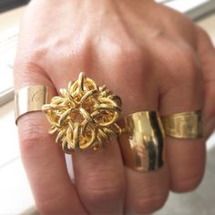 @Bagologie paid us a visit and tried on our #18K gold sculptural knot ring, which pairs nicely with her #personalcollection of rings.  Come try on some of our vintage designer gems today at the @eBay startup bar, 5th floor @fashtechforum. #Vintage #Designer #Jewelry #FTF #FTF2015 #FashionTechForum #fashion #technology #conference #springstudios #FTFspeaks #VintageJewelry #DesignerJewelry #FineJewelry #AntiqueJewelry #ShowMeYourRings #RingParty