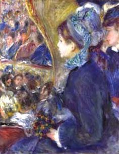 Pierre-Auguste Renoir - At the Theatre (La Première Sortie)  Arteeblog Series: Great dealers and patrons of the arts - The man who invented Impressionism - with photos, video and exhibition in 2015 http://www.arteeblog.com/2015/05/series-arteeblog-grandes-marchands-e.html
