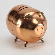 Vintage Copper Piggy Bank