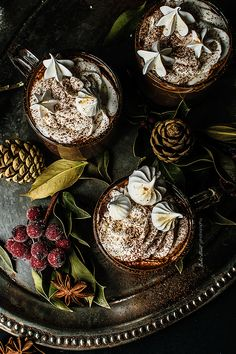 Gingerbread Hot Chocolate, two types of chocolate, spices, dark moscabado sugar and whipped cream dust with cocoa powder and dried meringues. Chocolate Stars, Hot Chocolate, Craving Chocolate, Making Whipped Cream, Types Of Chocolate, Cocoa Cinnamon, Pineapple Cake, Christmas Drinks, Drinking Tea