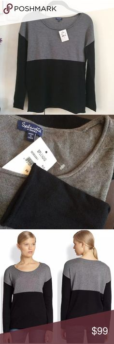 "NW SPLENDID BLACK CASHMERE COLORBLOCK SWEATER XS/S SPLENDID 100% Authentic   A soft knit with a hint of cashmere, this colorblock sweater is a luxe dose of modern style. Your new ""wear everywhere"" sweater. Brand new with tags & extra yarn.   • Pullover Style Soft Sweater • Rolled-edge scoopneck, cuffs and hem • Dropped shoulders • Long Sleeves • Featured Black/Grey Colorblock- SOLD OUT • New with Tags    Size: XS; Extra Small. underarm across front 19""; hem 17.5""; length 23.5""   MSRP…"