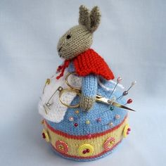 Rowena Rabbit pincushion PDF knitting pattern by dollytime