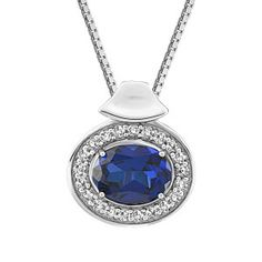 Silver cubic zirconia and synthetic blue sapphire pendant, chain included. Sapphire Pendant, Sapphire Jewelry, Blue Sapphire, Gemstone Jewelry, Diamond Jewelry, Diamond Wedding Bands, Wedding Rings, Quality Diamonds, Jewelry Gifts
