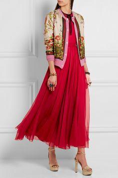Gucci for NET-A-PORTER   Appliquéd silk-blend organza gown   NET-A-PORTER.COM