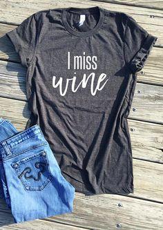 $19.99 | I Miss Wine Maternity Shirt | Maternity shirt | Maternity Top | Maternity clothes | Maternity style | Wine | Maternity wardrobe | Maternity outfit | #ad