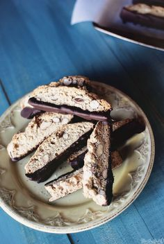 Chocolate Dipped Almond Biscotti from Rachel Ray Magazine September 2012 | Pass the Sushi {Holiday Baking}