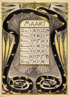 Theodoor Willem Nieuwenhuis, calendar, march leave, 1896. Netherlands. Wolfsonian Blog