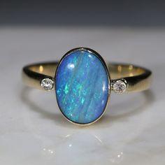 Natural Australian Opal and Diamond Gold Ring Size 7 Code 10k Gold Ring, Gold Diamond Rings, Opal Rings, Gold Rings, Gemstone Rings, Blue Opal Ring, Gold Ring Designs, Australian Opal, Opal Jewelry