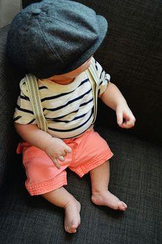 Deegan. {8 weeks}. Baby boy style. (hat - ebay, onsie & shorts - target, suspenders - h&m)