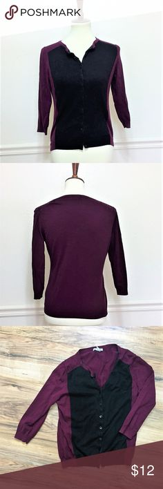 H&M Colorblock Purple & Black Soft Knit Cardigan Size M EUC Colorblock black and deep purple / plum cardigan H&M Sweaters Cardigans