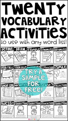 This is a set of twenty different activities that you can use with any vocabulary word with students in grades kindergarten, first grade, second grade, third grade, fourth grade, fifth grade, and sixth grade. These engaging activities will give your students the opportunity to choose how they interact with their vocabulary words, giving them greater authority over their learning!