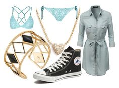 """Daughter of Poseidon Casual"" by elli-jane-xox ❤ liked on Polyvore featuring Nadri, Rebecca Minkoff, LE3NO, Converse and Topshop"