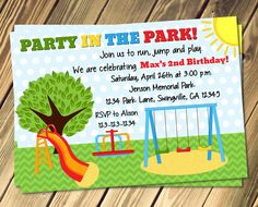 Printable playground birthday invitation party in the park park birthday party invitation print your own filmwisefo Gallery