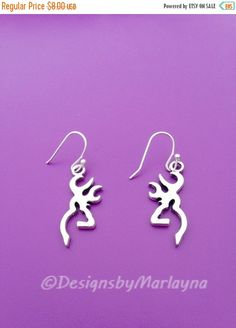 Buck Charm Earrings, Deer Earrings, Browning Jewelry, Country Jewelry, Country Girl, Hunting, Silver Earrings, Silhouette ,Gifts for her
