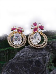 Dangle Earrings with CZ and Ruby Stones