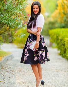 Black Sakura Midi Skirt
