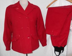 Vintage 1940s 1950s Suit Hunting Skiing Red Wool Jacket Pants White Stag Size 38