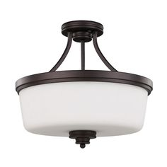 (3 Bulbs) Shop Canarm Jackson 15.75-in W Oil Rubbed Bronze Opalescent Glass Semi-Flush Mount Light at Lowes.com $81.17