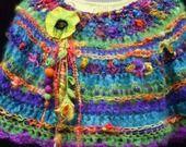 Chaufe épaules au crochet, laine filée main et mohair artisanal