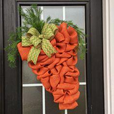 Easter Wreath: Carrot Wreath; Burlap Easter Carrot Door Hanger, Spring Garden Carrot Wreath with Fresh Picked Look
