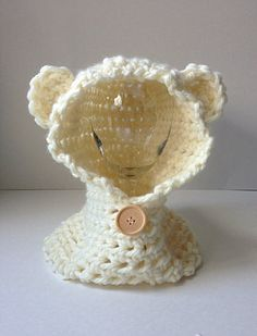 Crochet Cream Hooded Baby Cowl with Teddy Bear Ears, crochet baby scarf, children's hooded scarf, baby bear hoodie on Etsy, $25.00 CAD