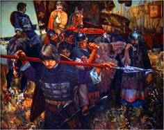 Russian spearmen on the march towards Kalka River to confront the Mongols