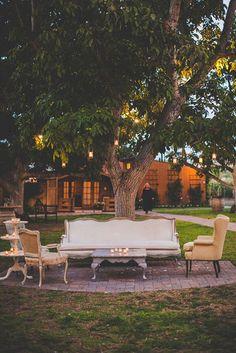 Outdoor lounge area - A backyard wedding lounge area. Reception Seating, Wedding Seating, Wedding Reception Decorations, Wedding Ideas, Wedding Inspiration, Reception Party, Marquee Wedding, Wedding Prep, Reception Ideas