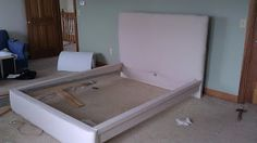 IKEA Hacking (make something old into something new). Upholstered MALM bedframe