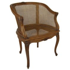 For Sale on - Beautifully carved Louis XV style Bergere with caned seat and back. Chair Cushions Walmart, Colonial Chair, French Style Chairs, Drawing Furniture, Wooden Armchair, Adirondack Chair Cushions, French Country Furniture, Bergere Chair, Cane Furniture