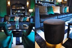 emerald living room with wallpaper and and fabrics Showroom, Emerald, Fabrics, Living Room, Interior Design, Luxury, Wallpaper, Projects, Home