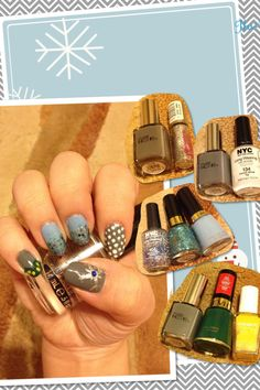 #Frozen #Disney #inspired #nails #nailart #polish #January          Thumb: #PureIce Kiss Me Here #Snowflake @essence_cosmetics  03 Silver Surfer nail art polish         Forefinger: PureIce Kiss Me Here #Snow @nyc_new_york_color 134 French White                               Middle&Ring: @Revlon 410 Dreamer / 934 Blue Mosaic and @nyc_new_york_color 105 Starry Silver                                            Pinky: PureIce Kiss Me Here / @Revlon Jaded Night / Charni Yellow(don't know actual…