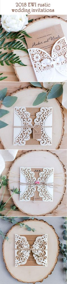 $269 for 100 sets of rustic laser cut invitations with free shipping.