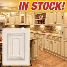 Heritage White with Dark Glaze Discount Kitchen Cabinets Traditional Kitchen Cabinets, Glazed Kitchen Cabinets, Refinish Kitchen Cabinets, Kitchen Cabinet Colors, Kitchen Decor, White Cabinets, Kitchen Ideas, Kitchen Designs, 10x10 Kitchen