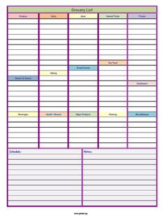 Printable & Organized/Detailed GROCERY LIST