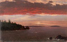 Frederic Edwin Church, Schoodic Peninsula from Mount Desert at Sunrise (1850–55) on ArtStack #frederic-edwin-church #art