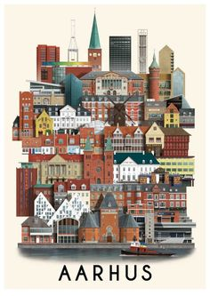 Aarhus poster by Martin Schwartz showing iconic buildings such as the the town hall and the cathedral tower Aarhus, Vertical City, Vintage Landscape, City Illustration, Beaches In The World, Vintage Travel Posters, Scandinavian, Poster Prints, Poster Poster