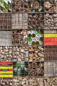 Insect hotel at RHS Flower Show Tatton Park. Like the bottles