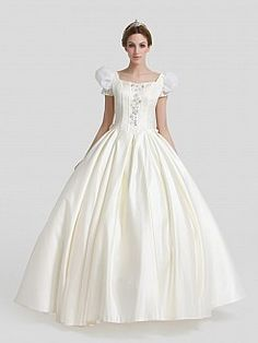Ivory Beaded and Rhinestone Satin Ball Gown with Puff Sleeves and Sash'