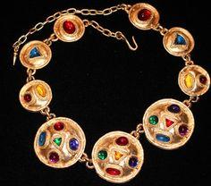 Vintage Edouard Rambaud Paris France Gripoix Glass Huge Etruscan Rev Necklace | eBay Sold for $ 205