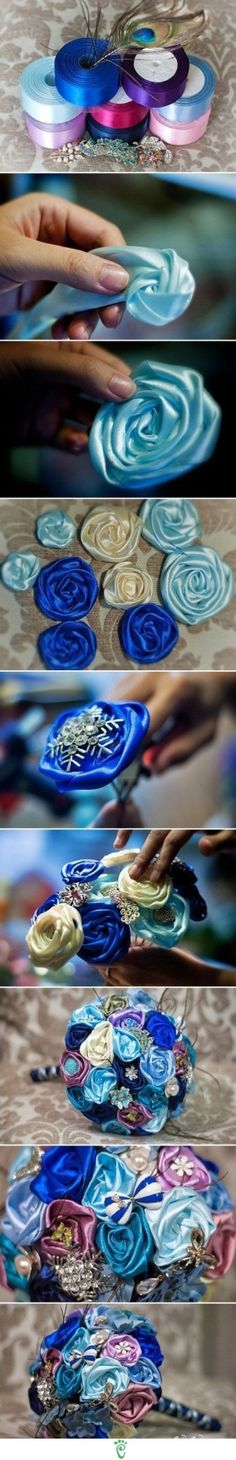 DIY Ribbon Flower Bouquet flowers diy crafts home made easy