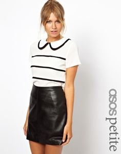 Image 1 ofASOS PETITE Exclusive Blouse With Contrast Pintucks And Collar
