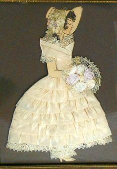 Antique Vintage Silk Satin Ribbon Rosette Lace Paper Doll Lady Silhouette Framed Boudoir Floral Art Picture