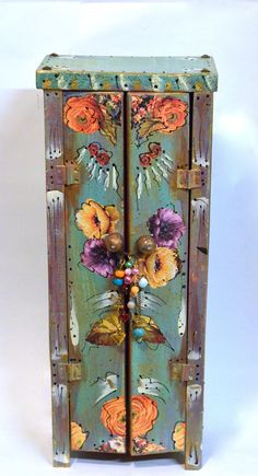 Boho Wooden Standing Cabinet Mexican Cottage by OliviabyDesign, $55.00 #handmade cabinet #mexican boho #bohemian wood cabinet