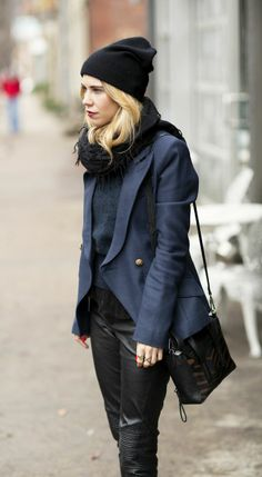 Black leather tight pant and navy coat