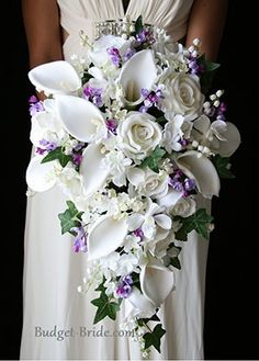 White and Lavender Wedding Bouquet Flower Idea - Beautiful!