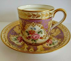Vintage CAULDRON English Coffee Mug and saucer set with floral pattern design and gold gilding. Pink Coffee Cups, Coffee Cups And Saucers, Cup And Saucer Set, Tea Cup Saucer, Tea Cups, Vintage Cups, Vintage Tea, Cup Decorating, My Cup Of Tea